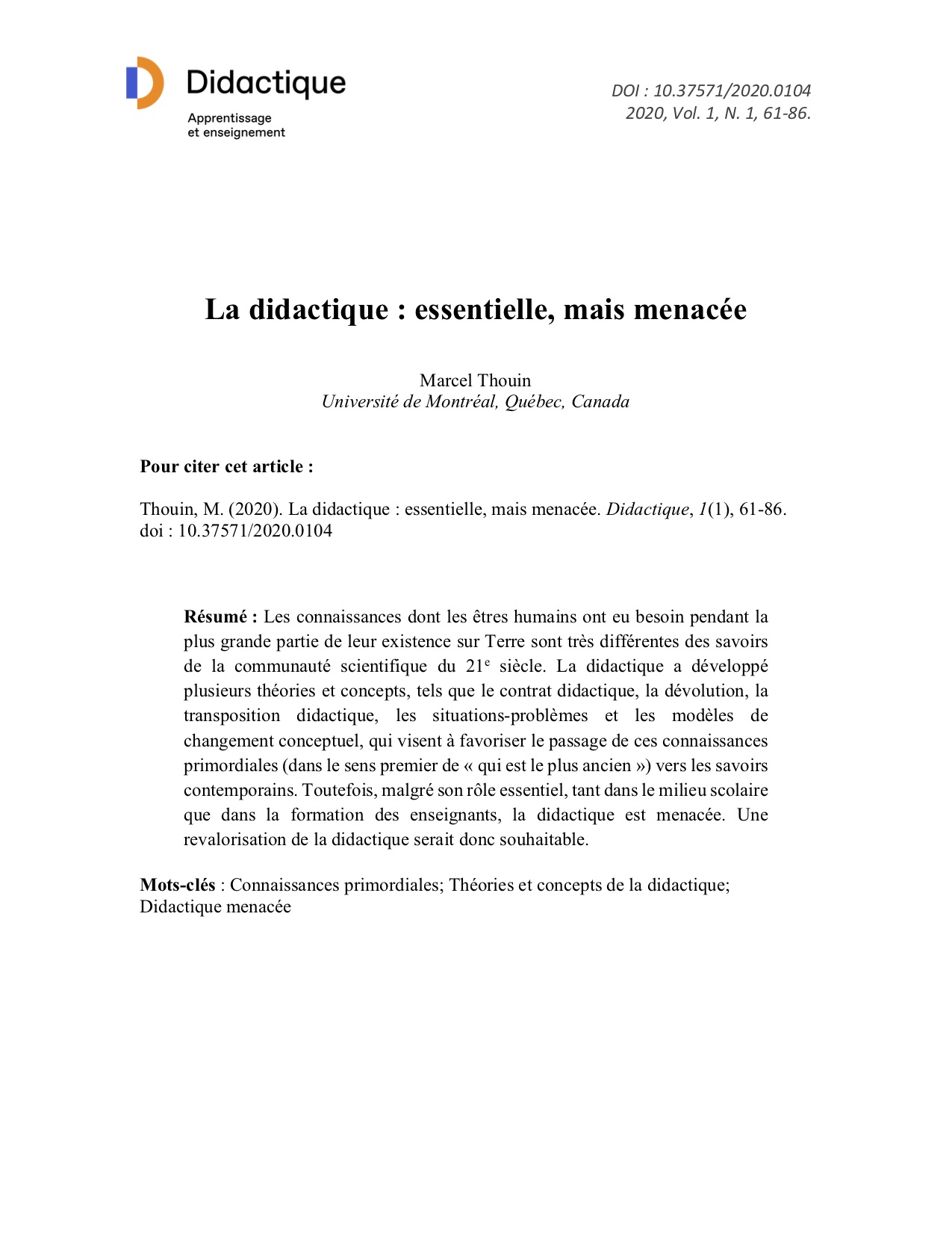 Page couverture du quatrième article