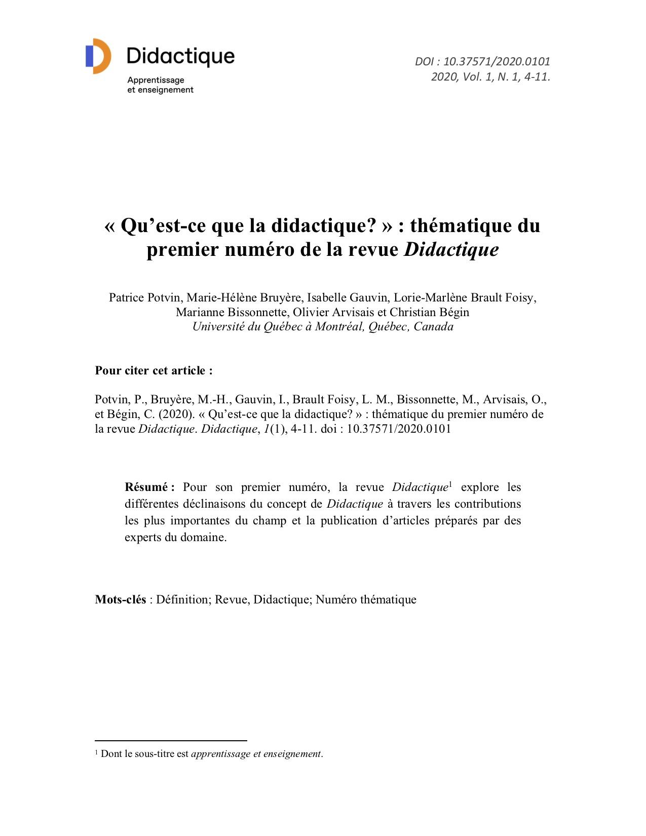 Page couverture du premier article